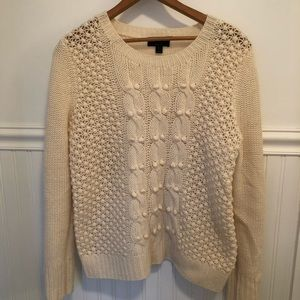 J Crew 100% lambs wool cable knit sweater